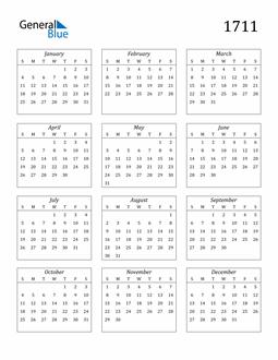 Image of 1711 1711 Calendar Streamlined
