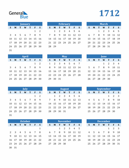 Image of 1712 1712 Calendar Blue with No Borders