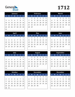 Image of 1712 1712 Calendar Stylish Dark Blue and Black