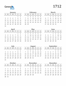 Image of 1712 1712 Printable Calendar Classic