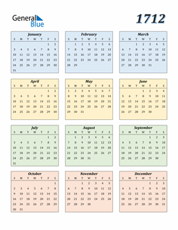 Image of 1712 1712 Calendar with Color