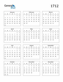 Image of 1712 1712 Calendar Streamlined