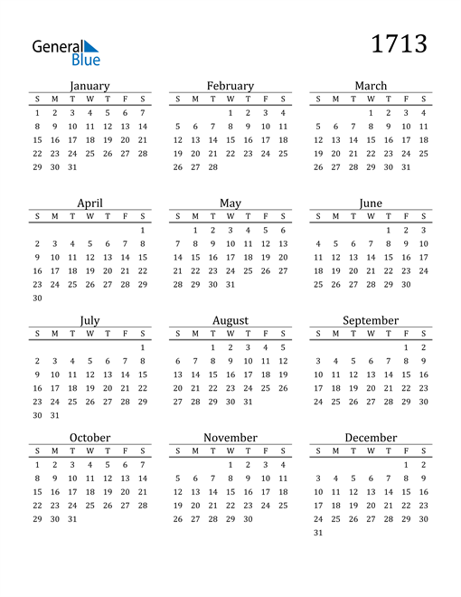 Image of 1713 1713 Printable Calendar Classic