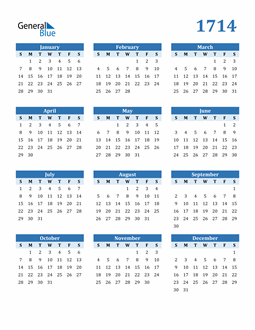 Image of 1714 1714 Calendar Blue with No Borders