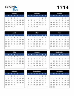 Image of 1714 1714 Calendar Stylish Dark Blue and Black