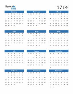 Image of 1714 1714 Calendar