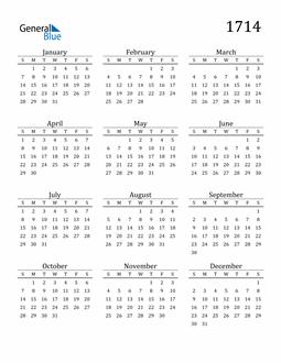 Image of 1714 1714 Printable Calendar Classic