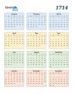 Image of 1714 1714 Calendar with Color