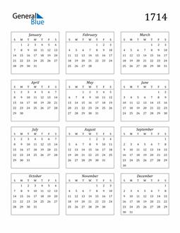 Image of 1714 1714 Calendar Streamlined