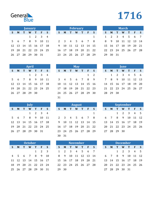 Image of 1716 1716 Calendar Blue with No Borders