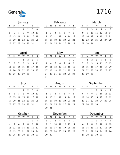 Image of 1716 1716 Printable Calendar Classic