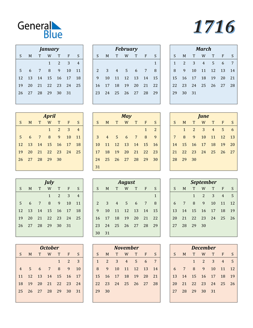 Image of 1716 1716 Calendar with Color