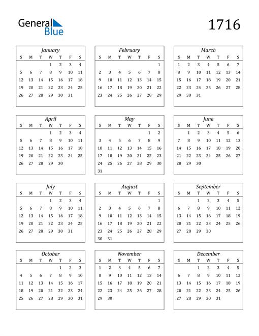Image of 1716 1716 Calendar Streamlined