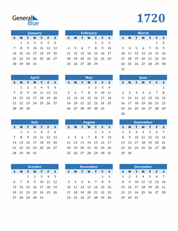 Image of 1720 1720 Calendar Blue with No Borders