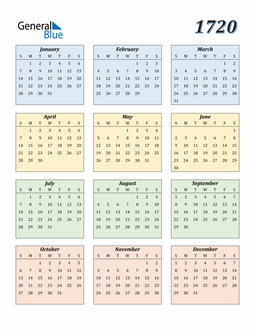 Image of 1720 1720 Calendar with Color