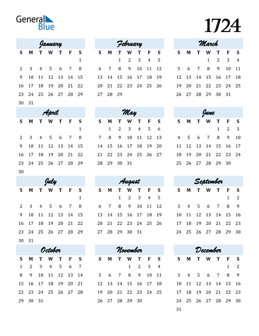 Image of 1724 1724 Calendar Cool and Funky