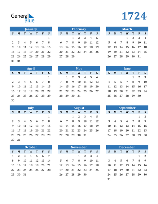 Image of 1724 1724 Calendar Blue with No Borders