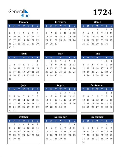 Image of 1724 1724 Calendar Stylish Dark Blue and Black