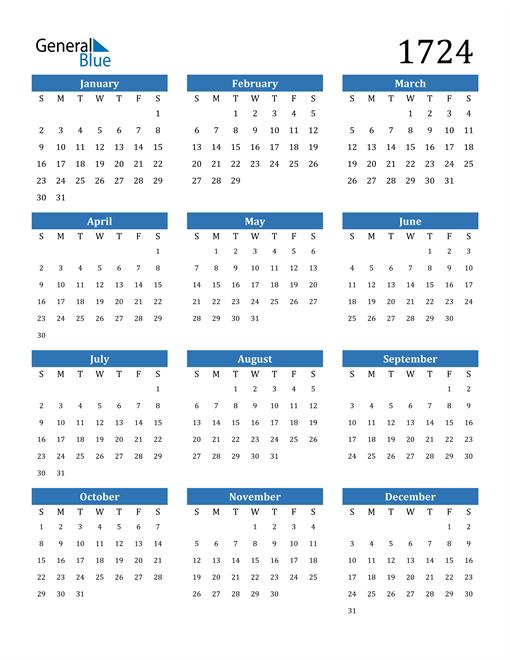 Image of 1724 1724 Calendar