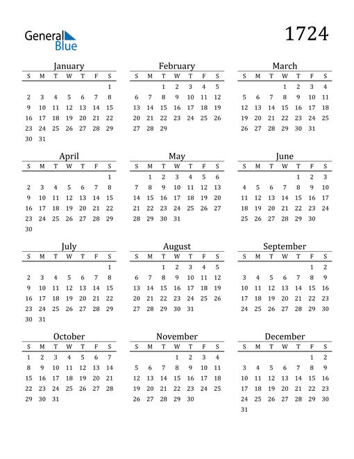Image of 1724 1724 Printable Calendar Classic