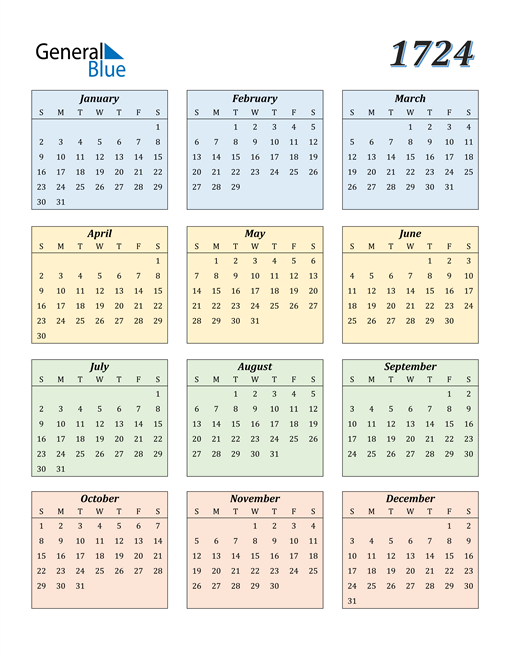 Image of 1724 1724 Calendar with Color