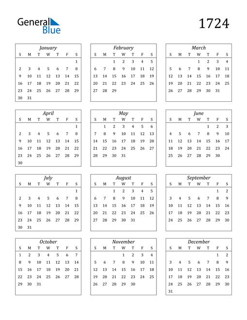 Image of 1724 1724 Calendar Streamlined