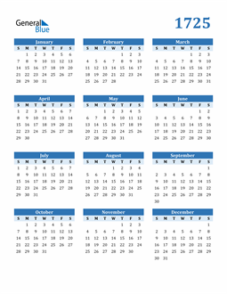 Image of 1725 1725 Calendar Blue with No Borders
