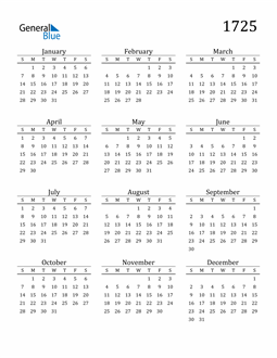 Image of 1725 1725 Printable Calendar Classic