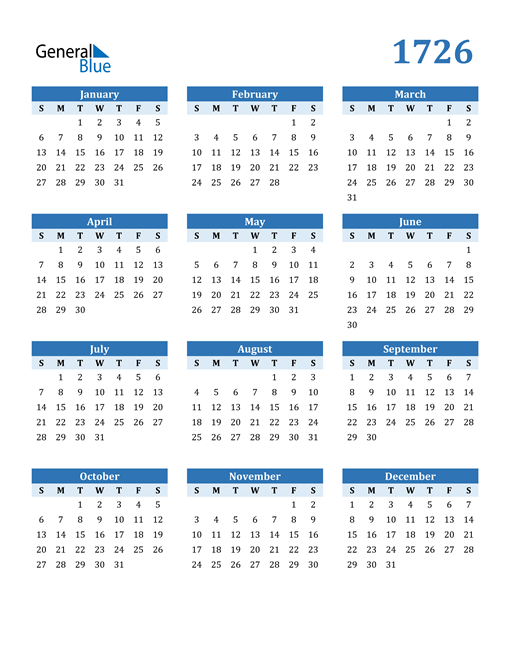 Image of 1726 1726 Calendar Blue with No Borders