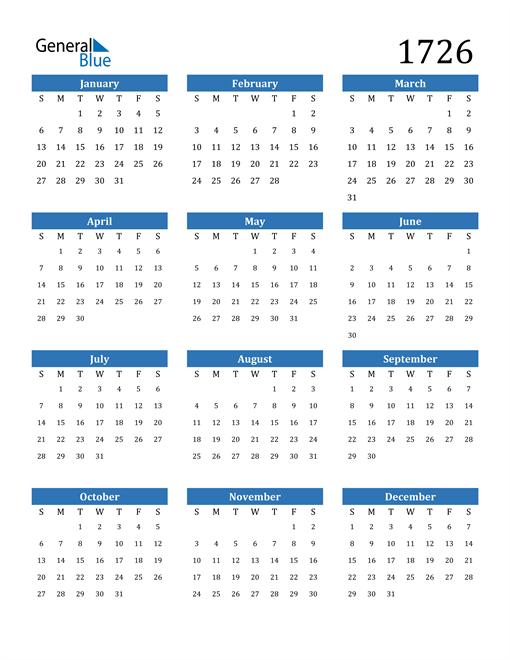 Image of 1726 1726 Calendar