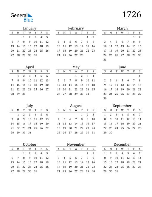 Image of 1726 1726 Printable Calendar Classic