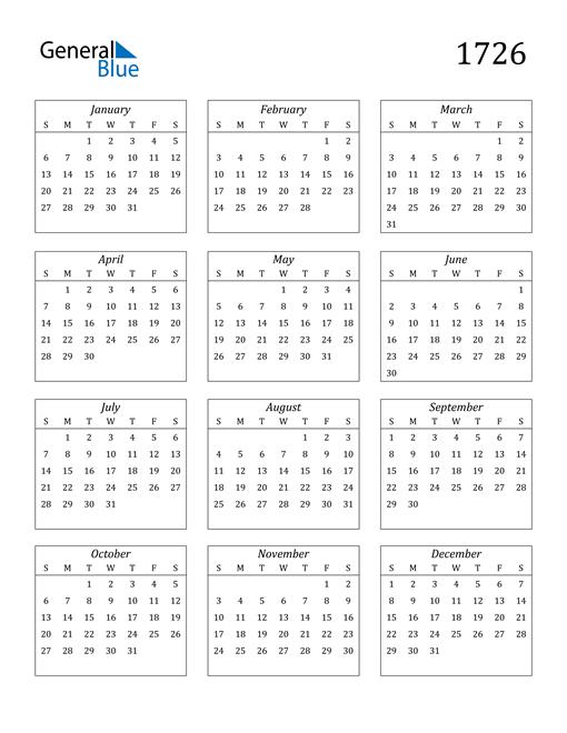 Image of 1726 1726 Calendar Streamlined