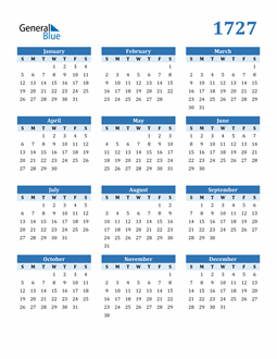 Image of 1727 1727 Calendar Blue with No Borders