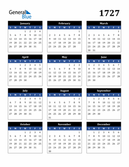 Image of 1727 1727 Calendar Stylish Dark Blue and Black