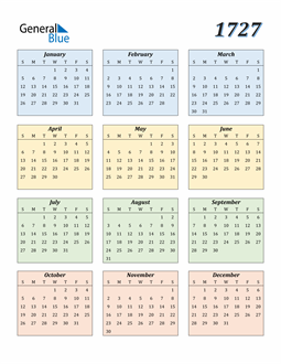 Image of 1727 1727 Calendar with Color