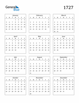 Image of 1727 1727 Calendar Streamlined