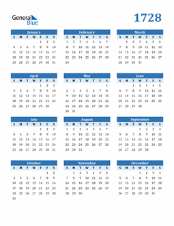 Image of 1728 1728 Calendar Blue with No Borders