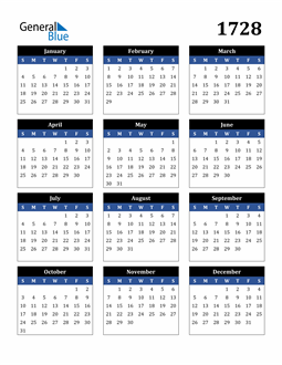 Image of 1728 1728 Calendar Stylish Dark Blue and Black