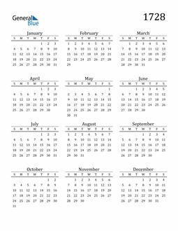 Image of 1728 1728 Printable Calendar Classic