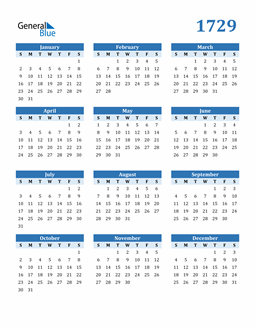 Image of 1729 1729 Calendar Blue with No Borders
