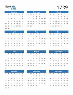 Image of 1729 1729 Calendar