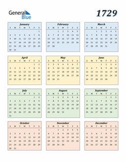 Image of 1729 1729 Calendar with Color