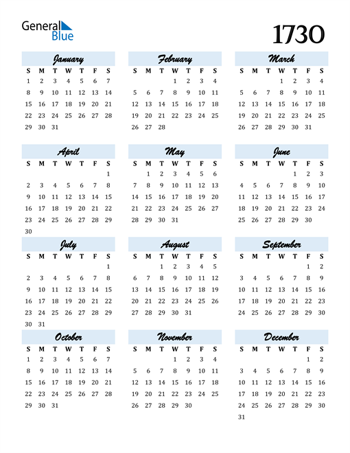 Image of 1730 1730 Calendar Cool and Funky