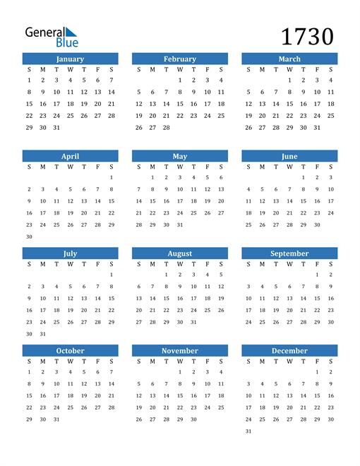 Image of 1730 1730 Calendar