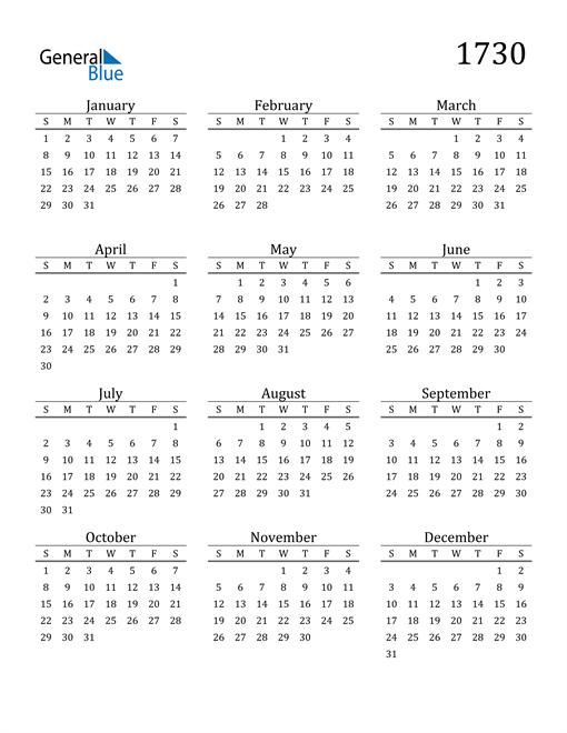 Image of 1730 1730 Printable Calendar Classic
