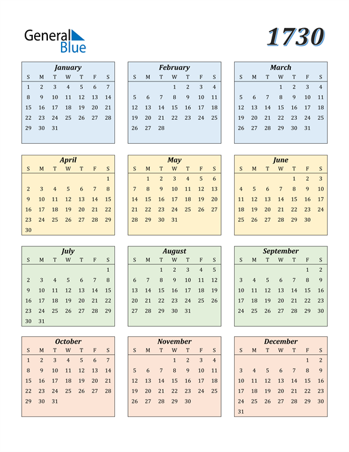 Image of 1730 1730 Calendar with Color