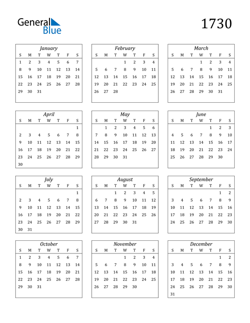 Image of 1730 1730 Calendar Streamlined