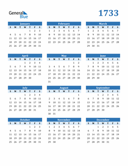 Image of 1733 1733 Calendar Blue with No Borders