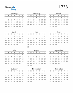 Image of 1733 1733 Printable Calendar Classic