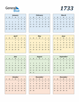 Image of 1733 1733 Calendar with Color